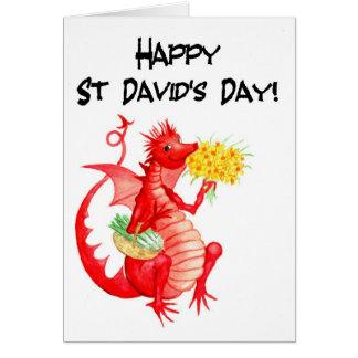 Cartes Le jour de dragon de poireaux de St David rouge