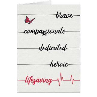 Cartes Le jour de l'infirmière - courageux, compatissant,
