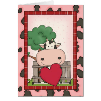 Cartes Le jour de mère heureux - vache et coeur