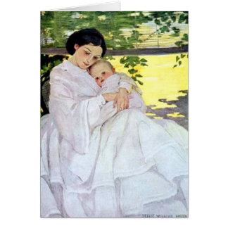 Cartes Le jour de mère vintage de mère et de bébé de