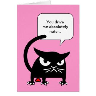 Cartes Le jour de Valentines drôle de chat noir carde  