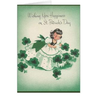Cartes Le jour irlandais vintage de St Patrick de fille