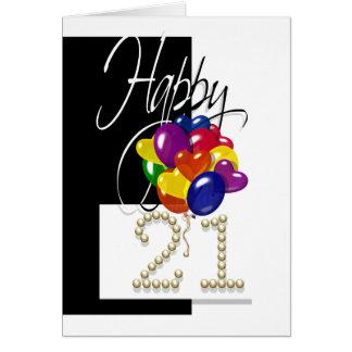 Cartes Le joyeux 21ème anniversaire monte en ballon