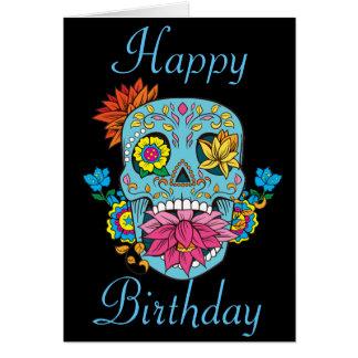 Cartes Le joyeux anniversaire fleurit le crâne mexicain
