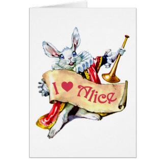 """Cartes Le lapin blanc d'Alice indique, """"j'aime Alice """""""