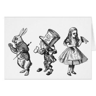 Cartes Le lapin, le chapelier et Alice du pays des