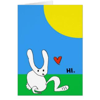 Cartes Le lapin mignon indique le HI
