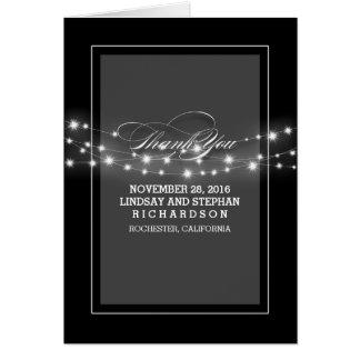 Cartes Le mariage noir de lumières modernes de ficelle