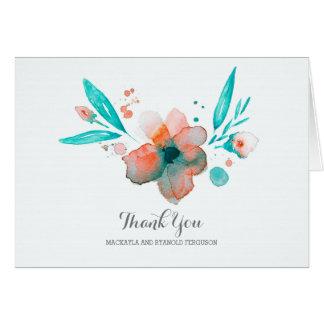 Cartes le mariage turquoise de fleur d'aquarelle vous