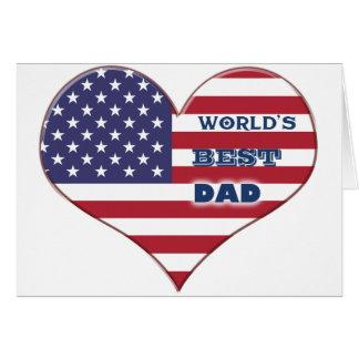Cartes Le meilleur coeur de drapeau américain du papa du