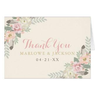 Cartes Le Merci plié carde le ressort Boho de | floral