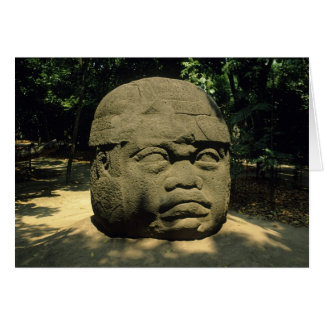 Cartes Le Mexique, Villahermosa, tête géante d'Olmec, La