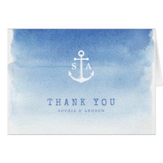 Cartes Le monogramme nautique d'ancre d'aquarelle bleue