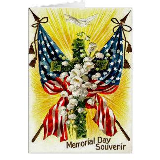 Cartes Le muguet chrétien de colombe de croix de drapeau