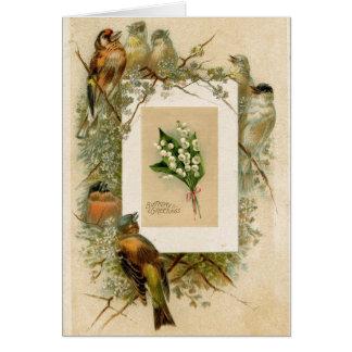 Cartes Le muguet vintage d'oiseaux fleurit l'anniversaire