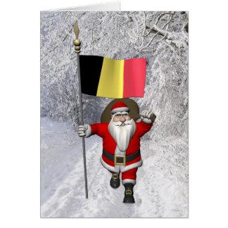 Cartes Le père noël avec le drapeau de la Belgique