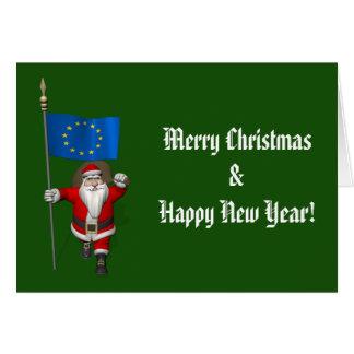 Cartes Le père noël avec le drapeau de l'Union européenne