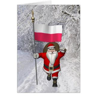 Cartes Le père noël doux avec le drapeau de la Pologne