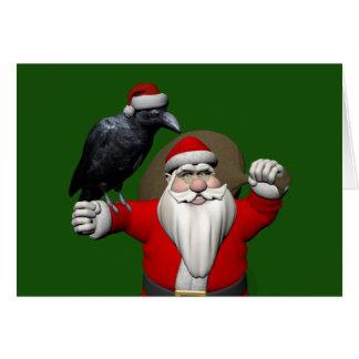 Cartes Le père noël heureux avec Raven énorme
