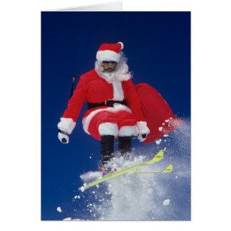 Cartes Le père noël sur sauter de skis outre d'une