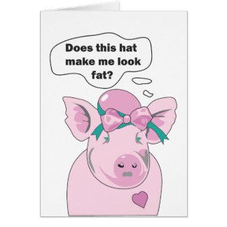 Cartes Le porc drôle semble gros il l'aime salutation