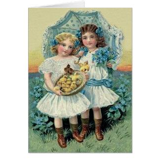 Cartes Le poussin victorien de Pâques de filles