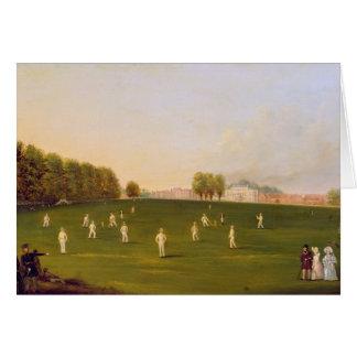 Cartes Le premier match grand du cricket a joué par des