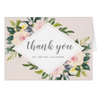 Cartes Le ressort floral rougissent Merci l'épousant fois