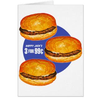 Cartes Le rétro 99¢ vintage de Jack heureux d'hamburgers