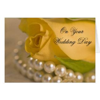 Cartes Le rose jaune et les perles ont mélangé le mariage