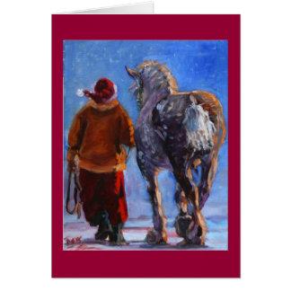 Cartes Le rouleur de Père Noël avec la frontière rouge