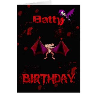 Cartes Le sang timbré d'anniversaire manie la batte