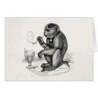 Cartes Le singe vintage fumant un tuyau Monkeys l'animal