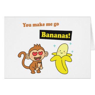 Cartes Le singe vont des bananes, humour mignon d'amour