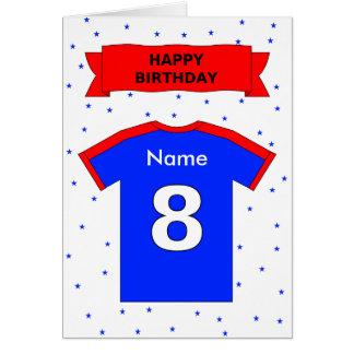 Cartes le T-shirt bleu rouge du 8ème anniversaire