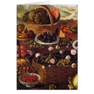 Cartes Le vendeur de fruit en détail par Vincenzo Campi
