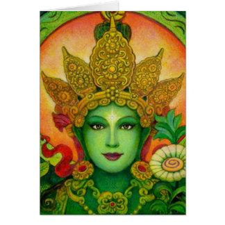 Cartes Le vert bouddhiste tibétain Tara de déesse font