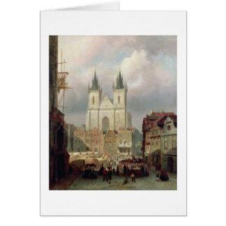 Cartes Le vieux marché à Prague, 1881 (huile sur le canva