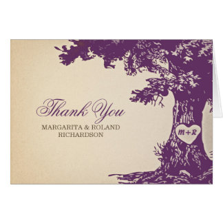 Cartes le vieux mariage de chêne de prune vous remercient