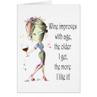 Cartes Le vin s'améliore avec l'âge, cadeaux