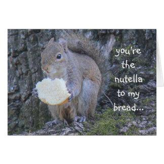 Cartes L'écureuil drôle, nutella à mon pain, vous