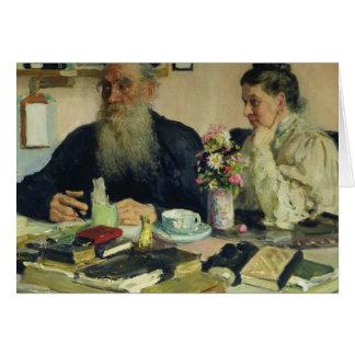 Cartes Léon Tolstoï avec son épouse dans Yasnaya Polyana