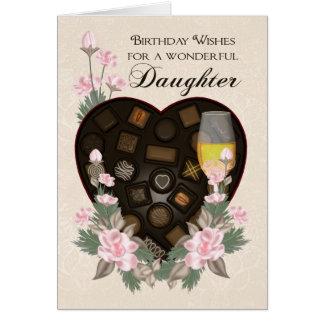Cartes Les chocolats vin de fille et l'anniversaire de