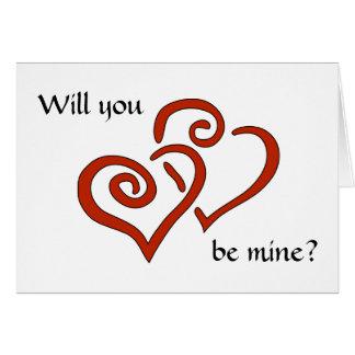 Cartes Les coeurs enlacés vous veulent soient les miens ?