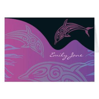 Cartes Les DAUPHINS de DANSE ont plié le Merci Carte-rose