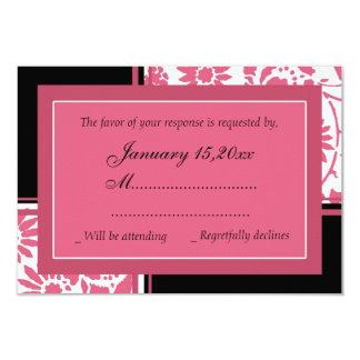Cartes les épousant élégantes de rose et de noir carton d'invitation 8,89 cm x 12,70 cm