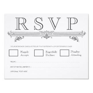 Cartes les épousant élégantes noires et blanches carton d'invitation 10,79 cm x 13,97 cm