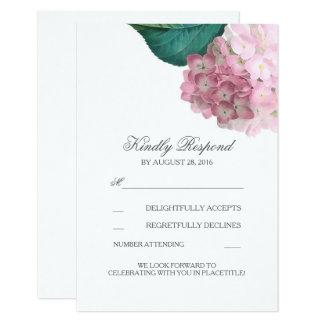 Cartes les épousant florales de l'hortensia rose carton d'invitation 8,89 cm x 12,70 cm