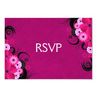 Cartes les épousant florales fuchsia foncées de carton d'invitation 8,89 cm x 12,70 cm