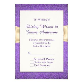 Cartes les épousant pourpres et crèmes élégantes carton d'invitation 8,89 cm x 12,70 cm